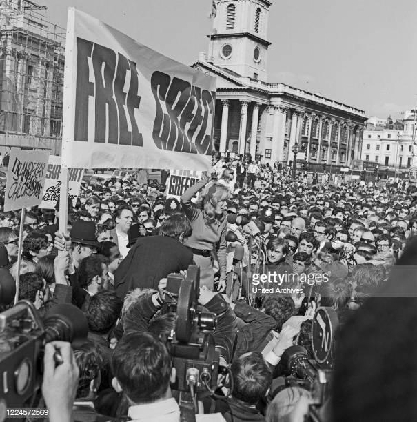 Greek actress Melina Mercouri speaking at Free Greece from Military Junta protest, Trafalgar Square London, United Kingdom 1968.