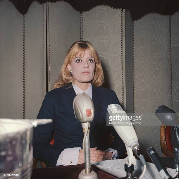Greek actress Melina Mercouri speaks at a press conference in Paris in 1968 to voice her opposition to the Greek military junta's takeover of Greece...