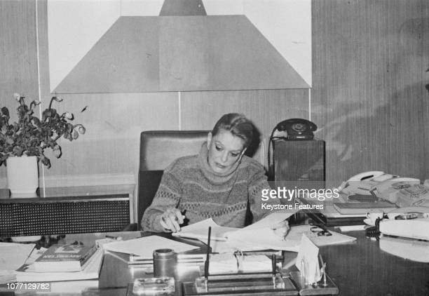 Greek actress Melina Mercouri , the new Greek Minister of Culture and Science, working at her home in Athens, Greece, November 1981. She is the first...