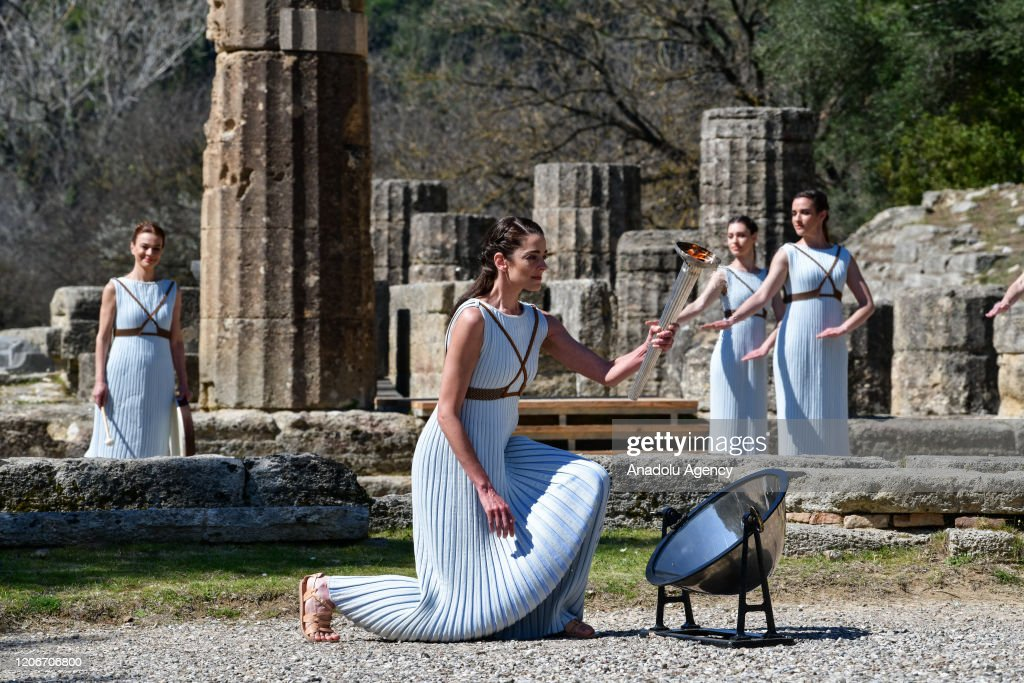 Lighting ceremony of the Olympic flame for the Tokyo Summer Olympics : News Photo