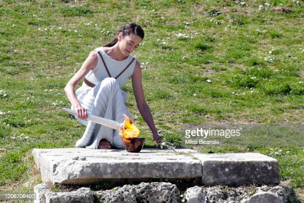 Greek actress Xanthi Georgiou playing the role of High Priestess with the Olympic Flame during the Lighting Ceremony of the Olympic Flame for the...