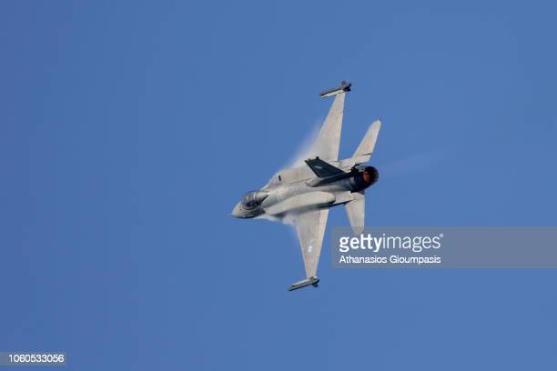 Greek Air Force F16 takes part in a military parade on October 28 2018 in Thessaloniki GreeceThe national 'Oxi Day' commemorates the rejection by...