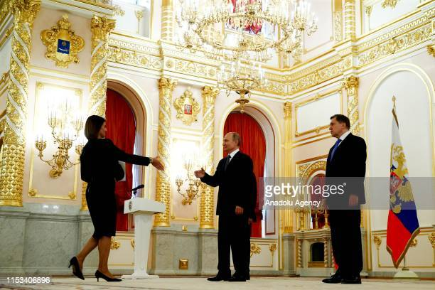 Greek Ambassador to Moscow, Tasia Afanasiu arrives to present her letter of credence to President of Russia, Vladimir Putin within a ceremony for 18...
