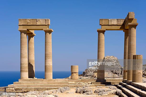 greek ancient temple - lindos stock photos and pictures