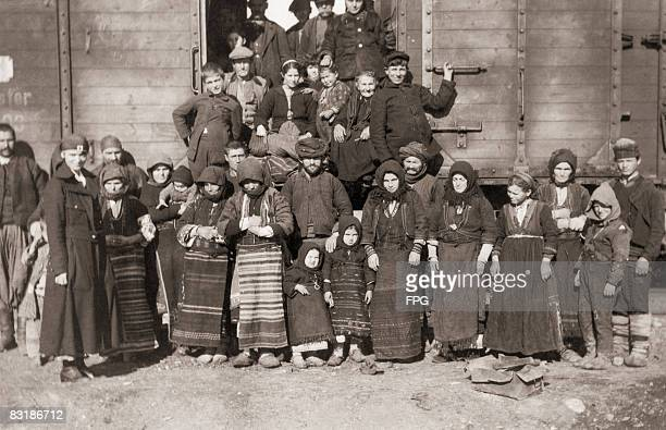Greek and Serbian refugees return home from Bulgarian internment camps during World War I 28th November 1919 They have travelled 500 miles in this...