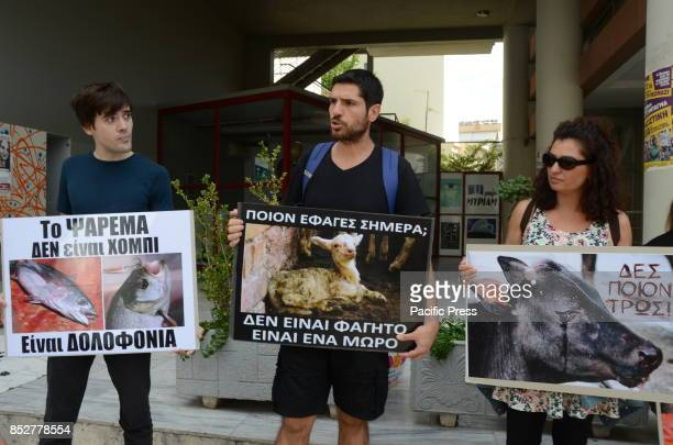 Greek animal activists demonstrate in Athens against the slaughter of animals for their fur or for their meat
