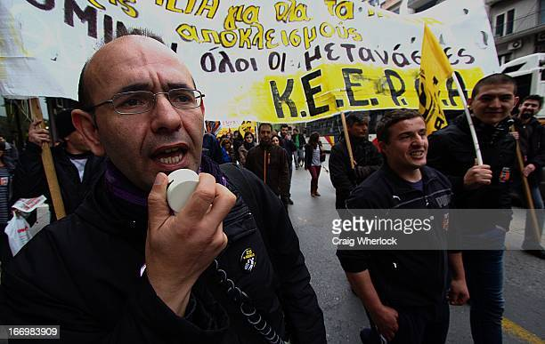 Greek anti-racist group protesting over new law that denies children of immigrants born in Greece the right to citizenship. Thessaloniki, Greece.
