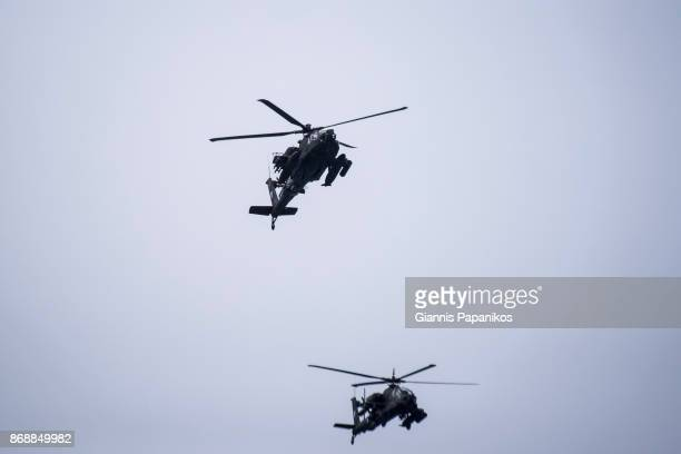 greek army apache helicopters - military attack stock pictures, royalty-free photos & images