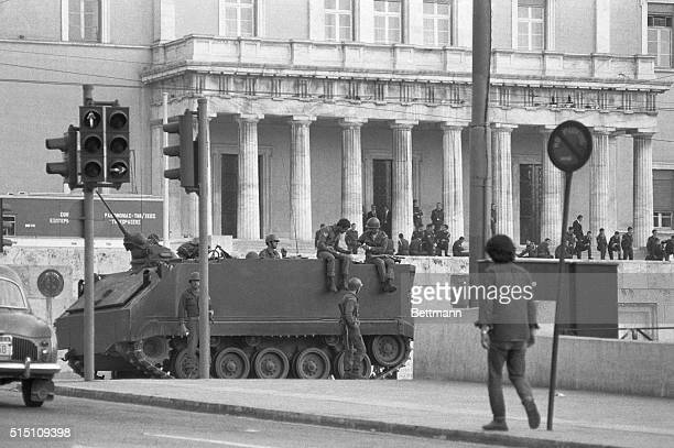 A Greek Army tank is stationed here outside the Presidential Building after martial law was proclaimed following unrest that began with student...