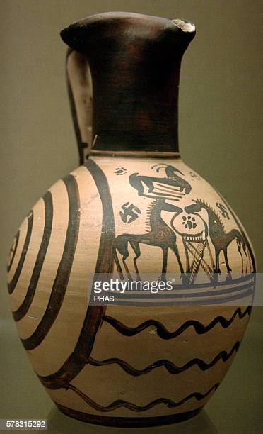 Greek art Late Geometric period Pottery oinochoe Two horses Atributed to The Concentric Circle Group 725 BC British Museum London England United...