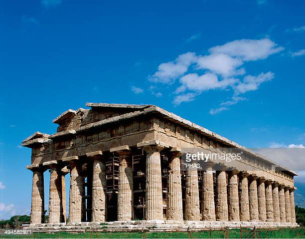 Greek art Magna Graecia Paestum Temple of Hera also called of Neptune built around 460–450 BC Archaic doric temple Campania Italy