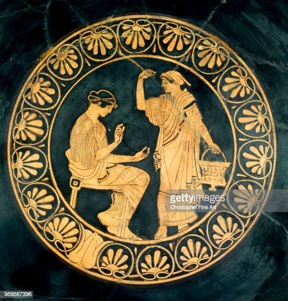 Greek Art Wedding Painter Gynaeceum Scene 470 BC RedFigure Terracotta Compiegne Vivenel Museum