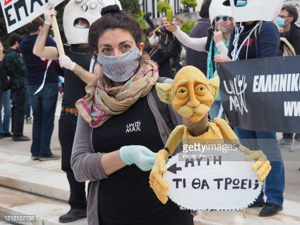 Greek artists protest in Syntagma square demanding from the government financial support for the Coronavirus pandemic.
