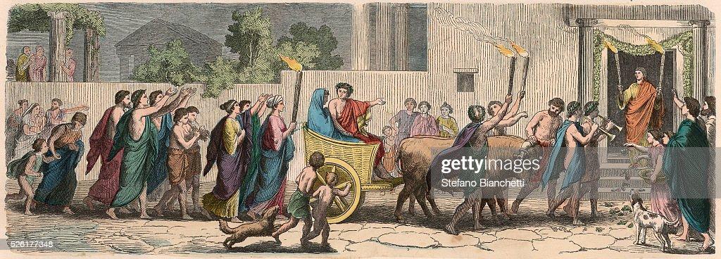 Ancient Greek wedding procession : News Photo
