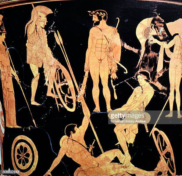 Greek attic krater depicting Heracles and Argonauts from Orvieto Italy 475 BC