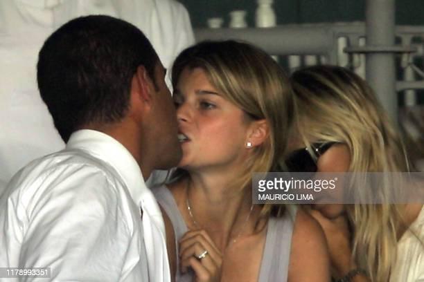 Greek billionaire Athina Roussel Onassis kisses her husband Brazilian rider Alvaro Affonso de Miranda Neto during the 1st Athina Onassis...