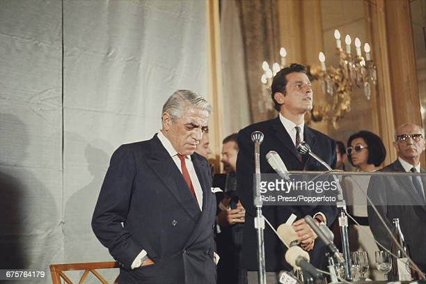 Greek businessman and shipping tycoon Aristotle Onassis pictured left at a press conference in 1968 the same year he married Jacqueline Kennedy on...
