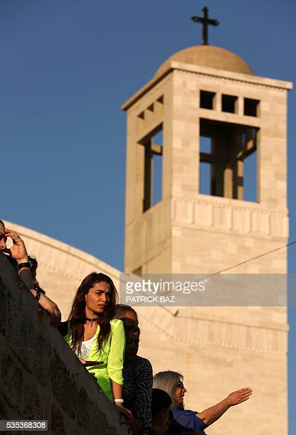Greek Catholic Christians also known as Melkite gather at the Basilica of Our Lady of Mantara in the southern Lebanese town of Maghdouche East of...