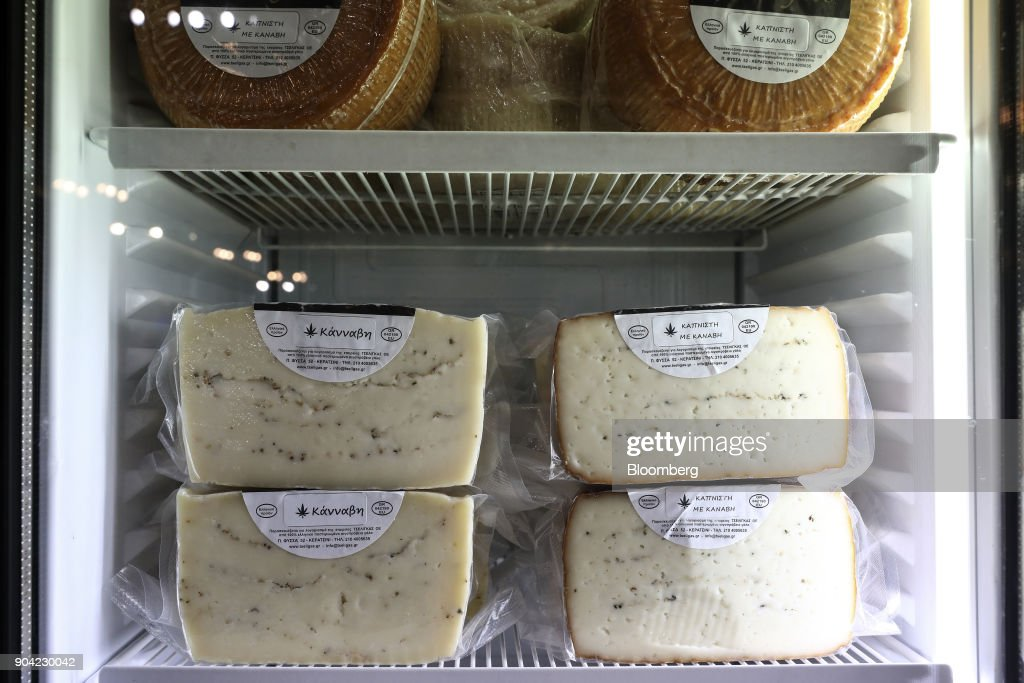 Greek cheese infused with cannabis herbs sits in a refrigerator at the 1st International Cannabis Expo at the Faliro Sports Pavilion in Athens, Greece, on Friday, Jan. 12, 2018. The purpose of the event is to inform the public about all the products and innovations that exist in the world of cannabis and the latest achievements in the medical, pharmaceutical and industrial use of cannabis. Photographer: Yorgos Karahalis/Bloomberg via Getty Images