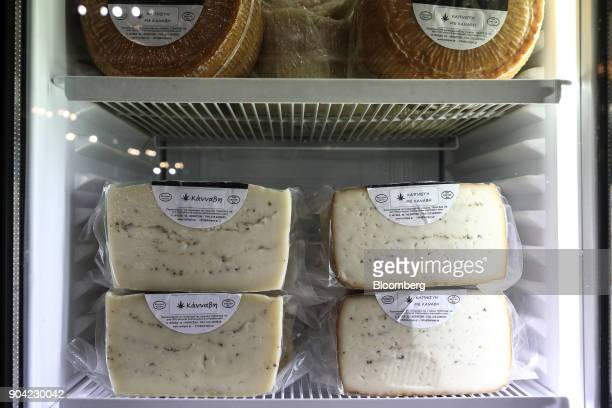 Greek cheese infused with cannabis herbs sits in a refrigerator at the 1st International Cannabis Expo at the Faliro Sports Pavilion in Athens Greece...