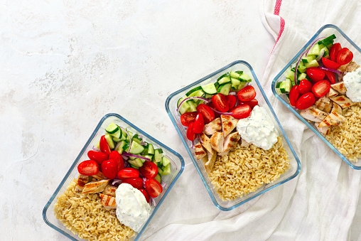 Greek chicken with tzatziki prepared and ready to eat in a take away  lunch boxes 960527030