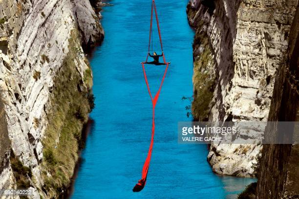 TOPSHOT Greek choreographer and dancer Katerina Soldatou performs above the Corinth Canal as part of the Greece Has Soul project on May 30 2017 in...