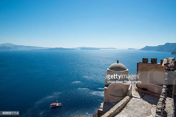 Greek church against the blue sea and sky Santorini