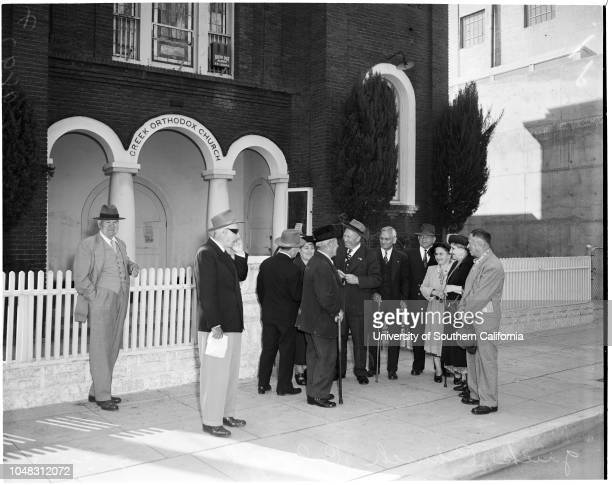 Greek Church closed 3 May 1953 Stanley Chuven Peter Dalkas LR Dusich RF Kiser Crowds outside churchCaption slip reads 'Photographer Paegel Date 0503...