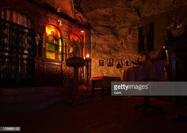 igreja grega interior - igreja ortodoxa grega - fotografias e filmes do acervo