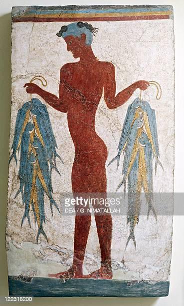 Greek civilization 16th century bC Fresco depicting a fisherman From Akrotiri Thera Santorini Greece