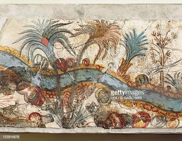 Greek civilization 16th century bC Fresco depicting a river landscape From Akrotiri Thera Island Santorini Greece Detail