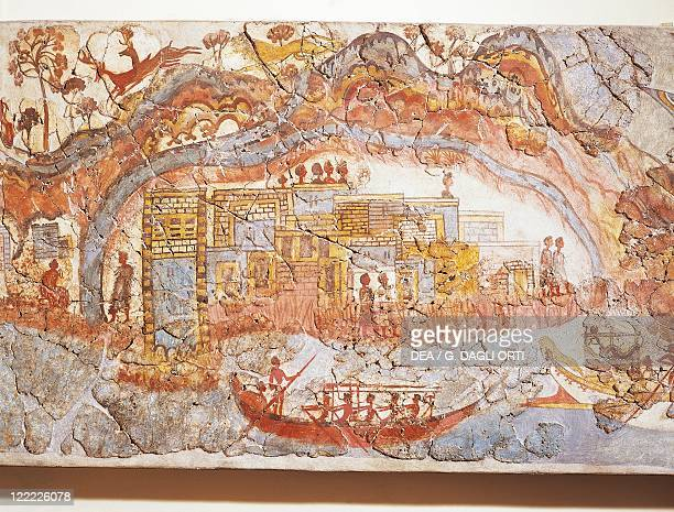 Greek civilization 16th century bC Fresco depicting a ship procession From Akrotiri Thera Island Santorini Greece Detail a coastal town
