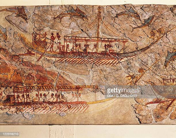Greek civilization 16th century bC Fresco depicting a ship procession From Akrotiri Thera Island Santorini Greece Detail ships