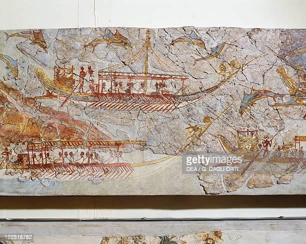 Greek civilization 16th century bC Fresco depicting a ship procession From Akrotiri Thera Island Santorini Greece Detail ships