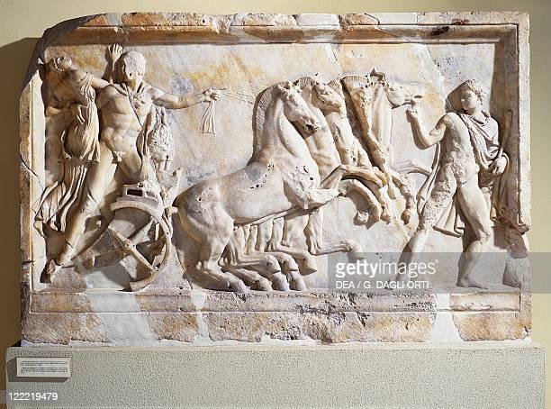Greek civilization 2nd century bC Hercules and Aeolus with quadriga Marble slab