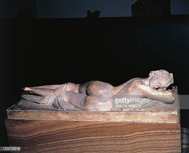 Greek civilization 2nd century bC Marble statue of Hermaphrodite sleeping Roman copy of a Hellenistic original