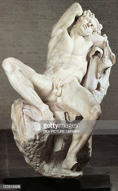 Greek civilization 3rd century Sleeping or drunken satyr known as the Barberini Faun Roman marble copy