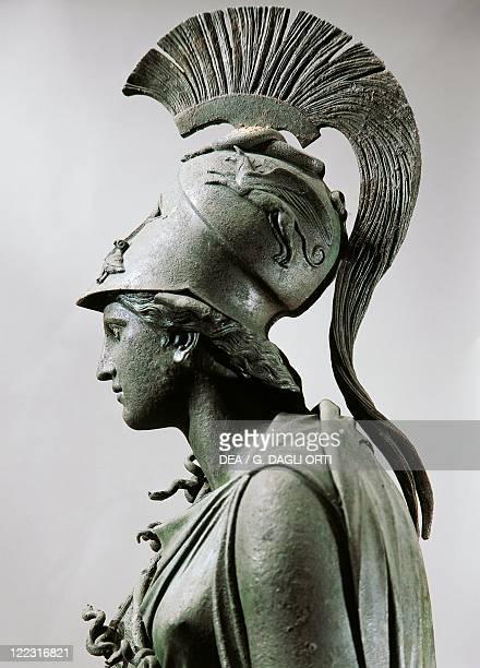 Greek civilization, 4th century b.C. Bronze statue of Athena with crest. Detail, head.