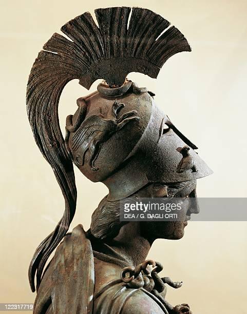 Greek civilization, 4th century b.C. Bronze statue of Athena with helmet. Detail, head.