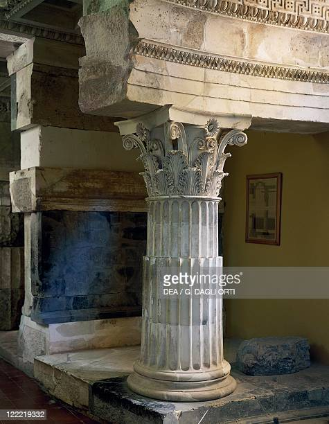 Greek civilization 4th century bC Corinthian capital and trabeation from the Tholos of Epidaurus