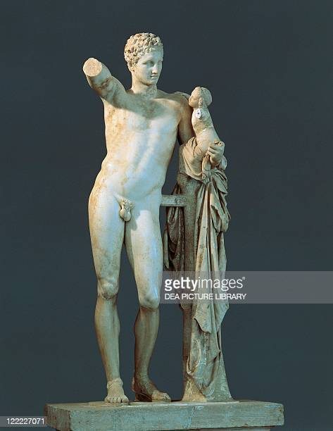 Greek civilization 4th century bC Praxiteles Hermes and the infant Dionysus marble h213 m From the Temple of Hera at Olympia