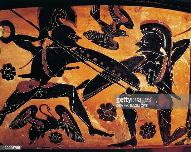 Greek civilization 5th century bC Blackfigure pottery Attic vase depicting the clash between two warriors Detail