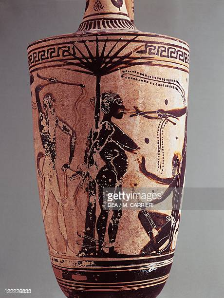 Greek civilization 5th century bC Blackfigure pottery Painted vase depicting Lamia being tortured by five satyrs Detail