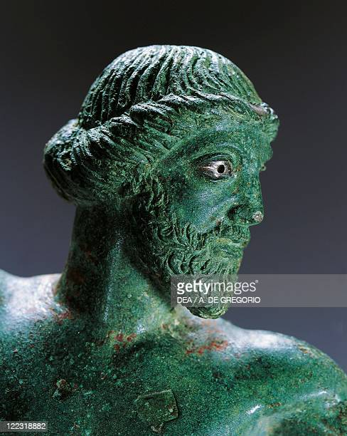 Greek civilization 5th century bC Bronze statue of Zeus Naios holding a lightning bolt 480470 bC From Apollonia Illyria Detail head