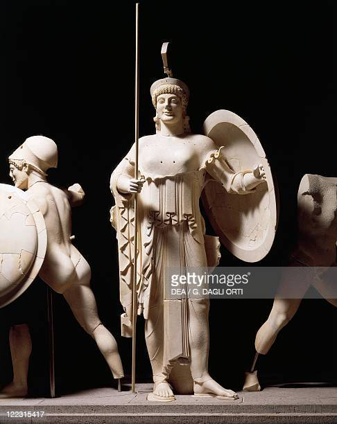 Greek civilization 5th century bC Cast sculpture depicting Athena from the west pediment of the Temple of Aphaia at Aegina 490 bC