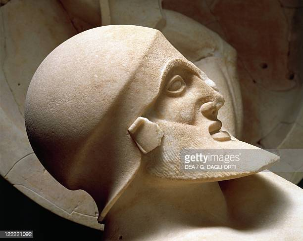 Greek civilization 5th century bC Cast sculpture of head of Trojan king from the east pediment of the Temple of Aphaia at Aegina 490 bC