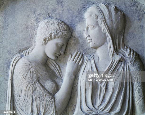 Greek civilization 5th century bC Funerary monument Detail of marble stele from Kamiros depicting Timarista and his daughter Krito