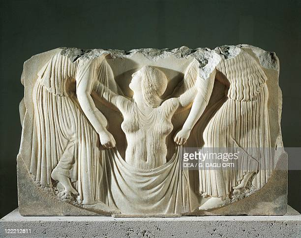 Greek civilization 5th century bC Ludovisi Throne Thasos marble Detail of relief depicting the birth of Aphrodite