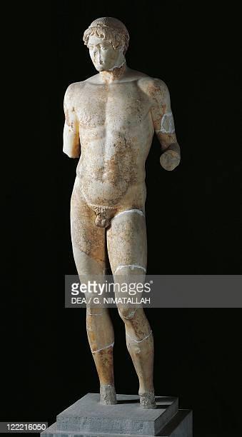 Greek civilization 5th century bC Omphalos Apollo statue Roman copy