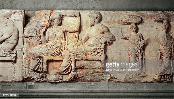 Greek civilization 5th century bC Pentelic marble east frieze of the Parthenon by Phidias Basrelief depicting seated Zeus and Hera with their...
